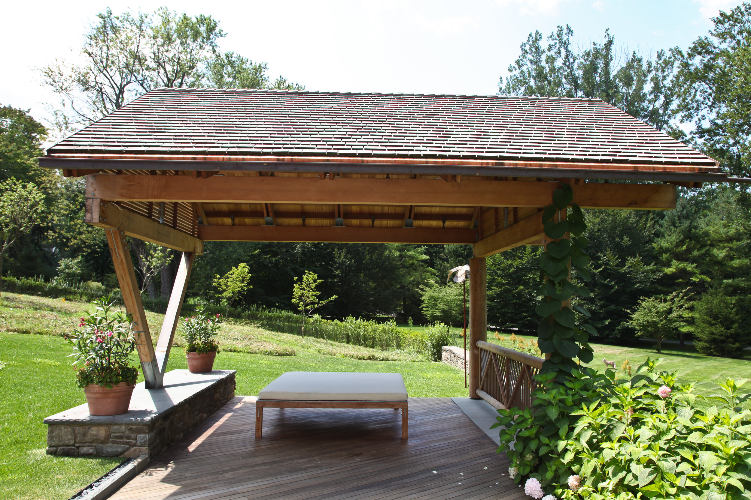 sideview perspective custom gazebo summer relaxing