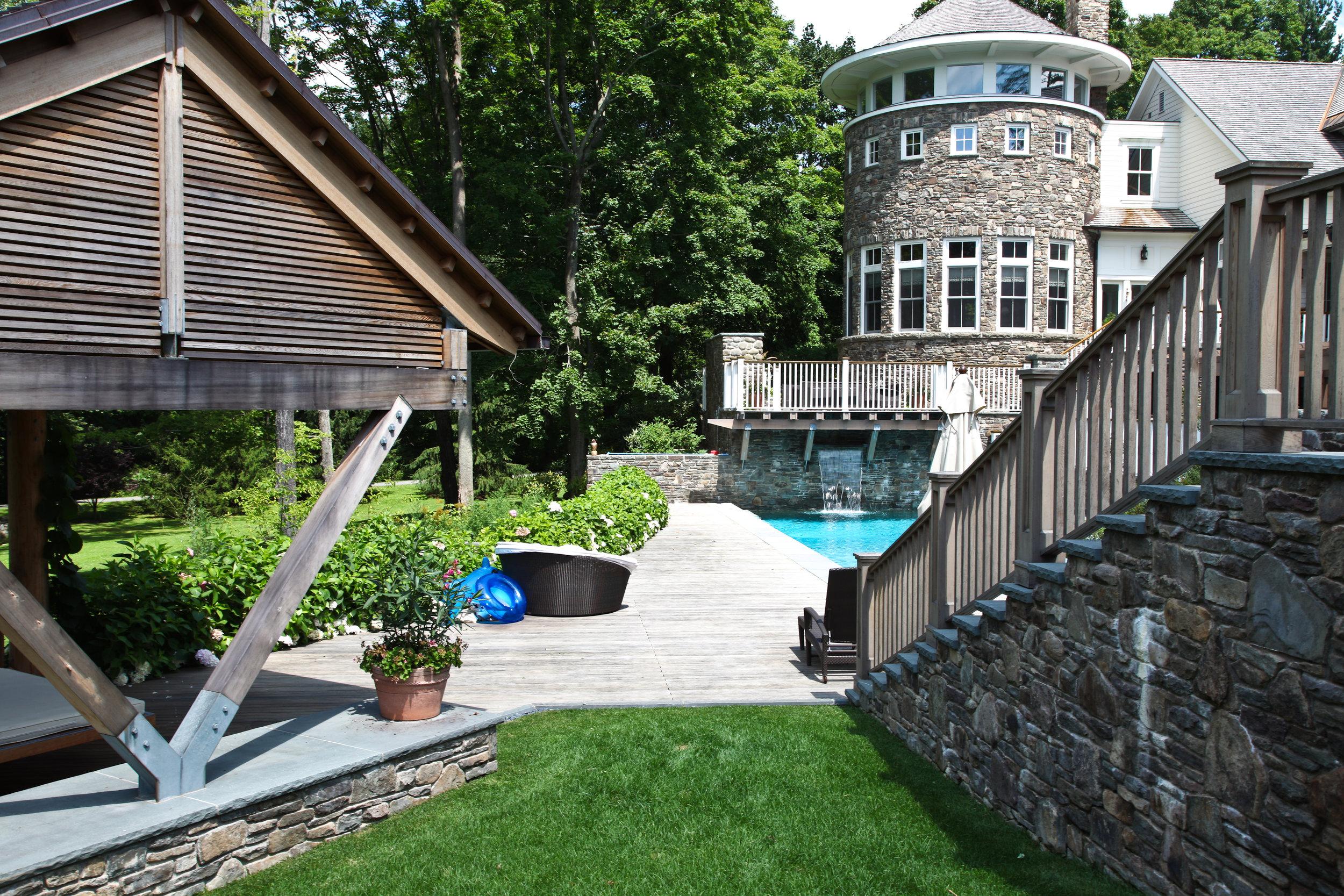 stone staircase gazebo pool luxury home