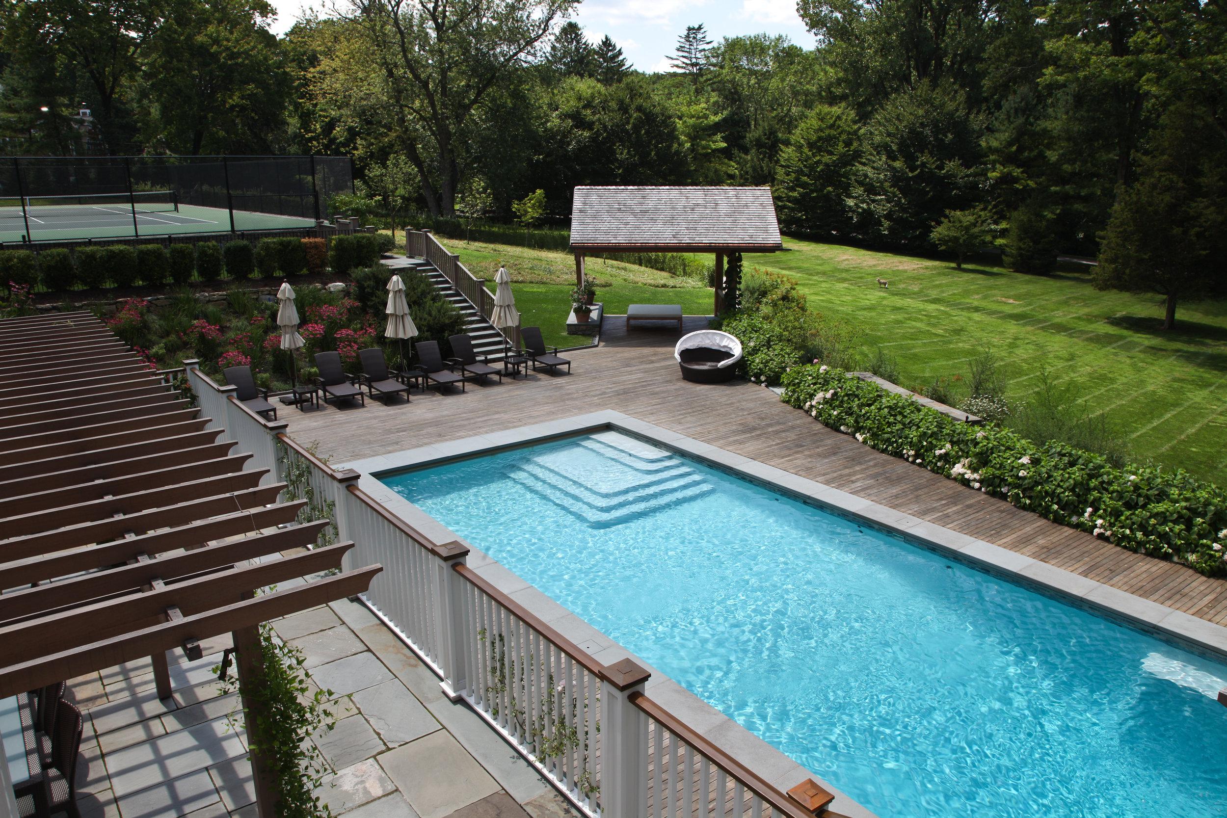 relaxing pool trellis summer bright light