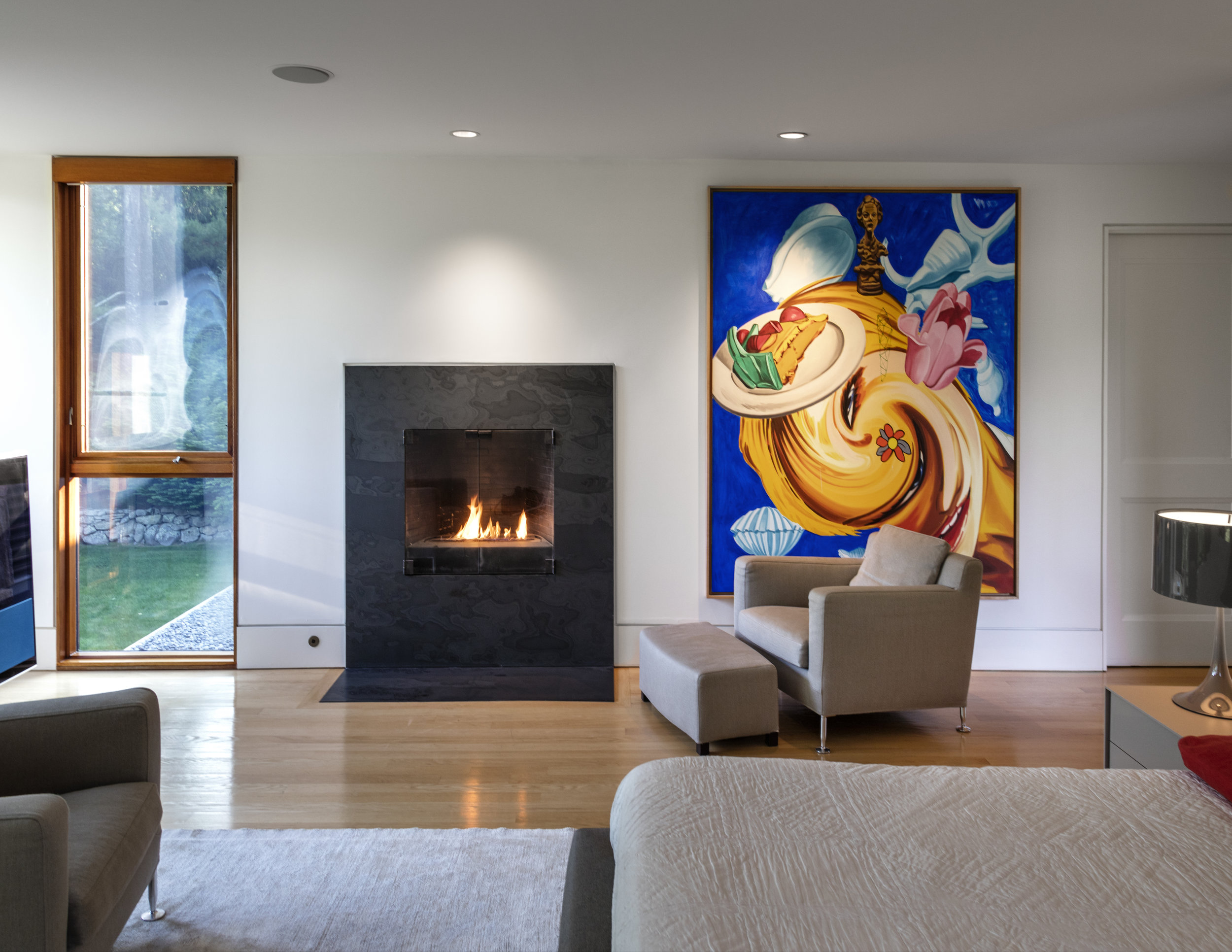 comfortable luxury living room with fireplace modern art