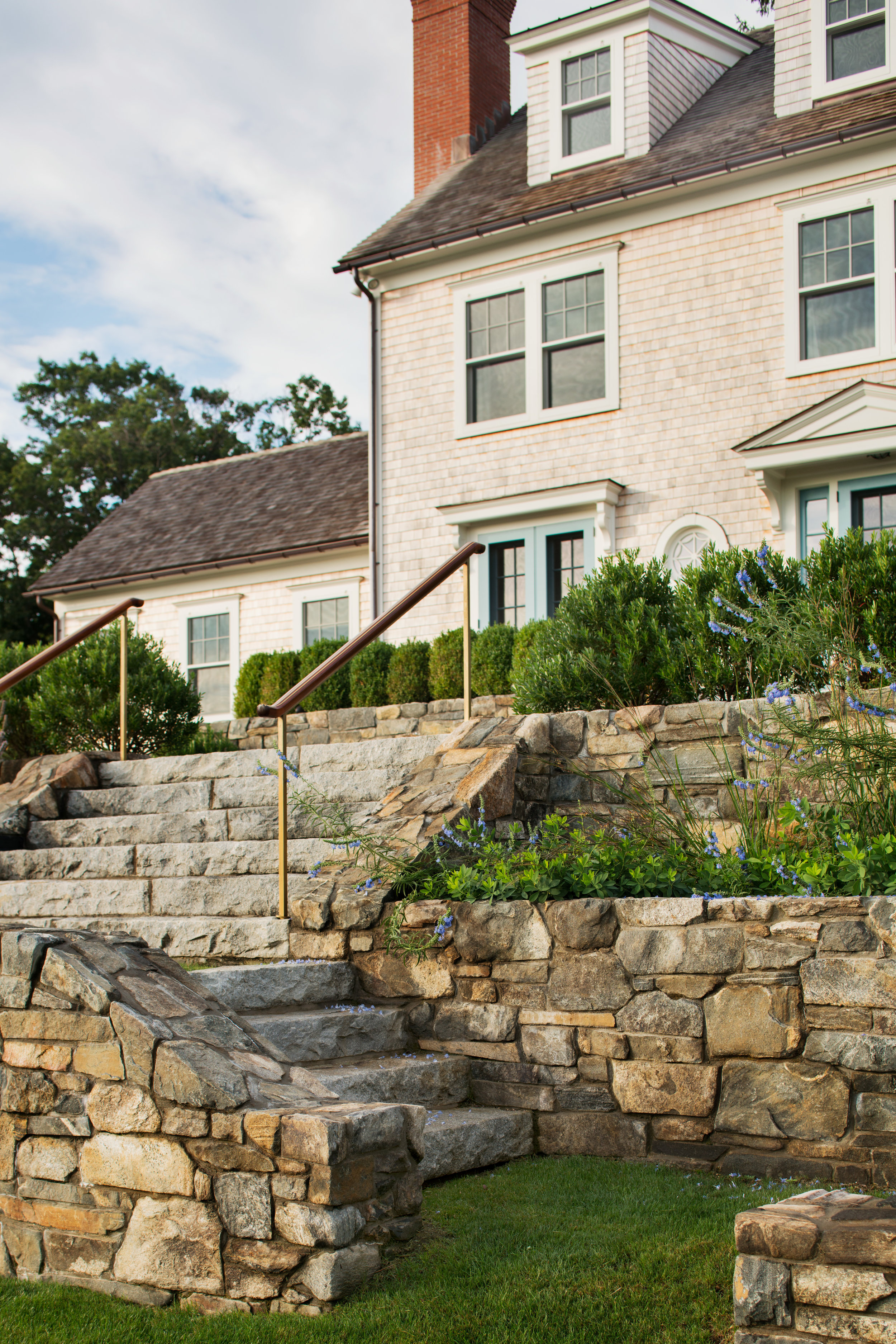 rock walls and stone staircase