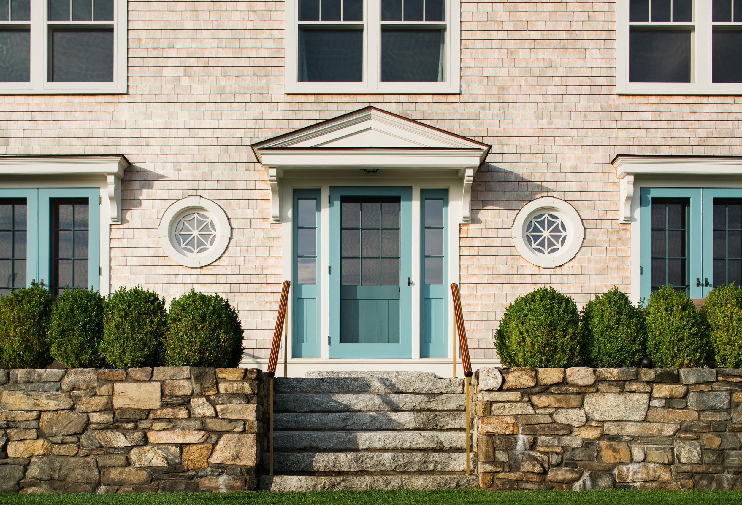 gorgeous front door stone walls