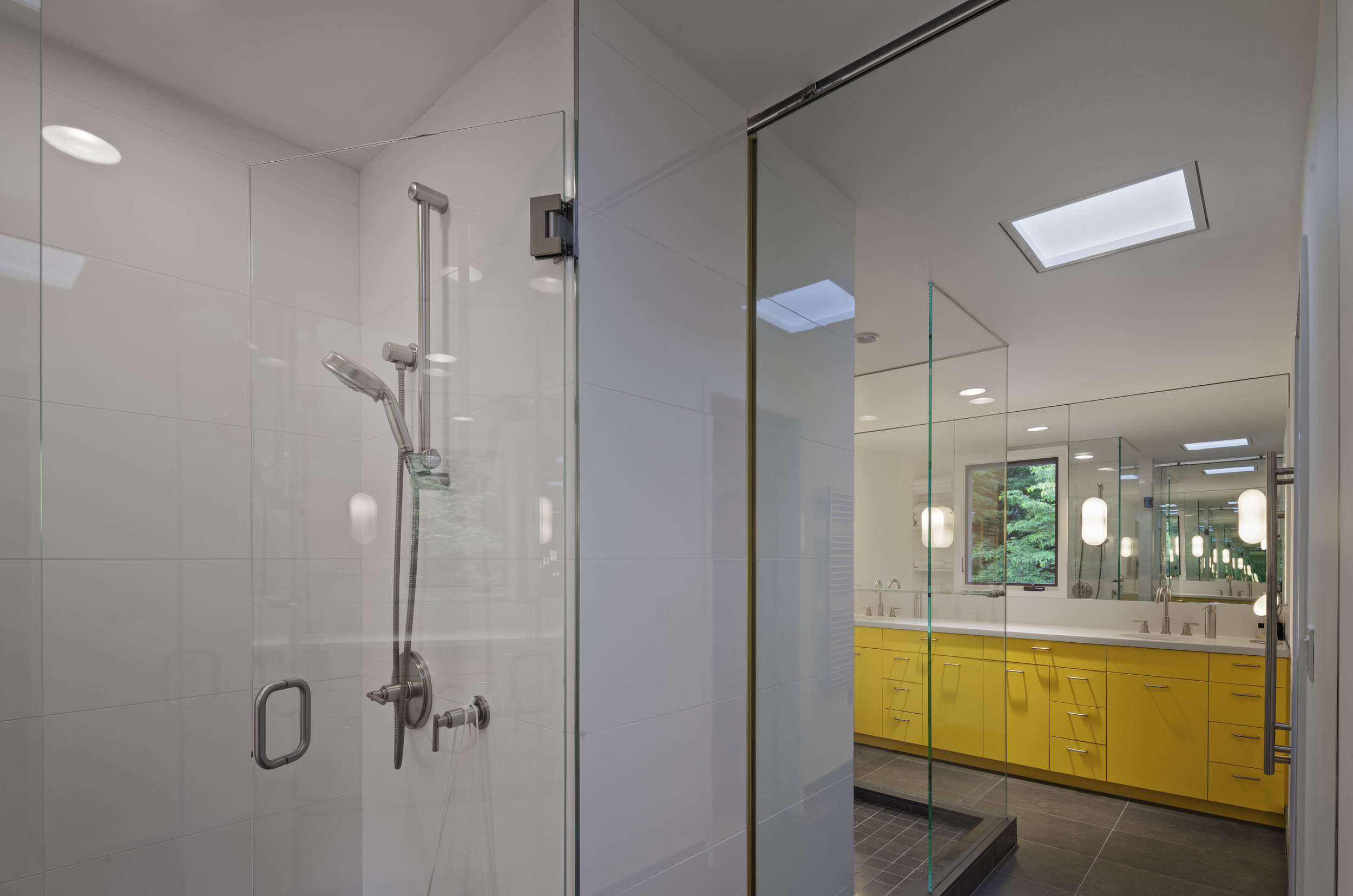 white bathroom luxury relaxing glass shower doors