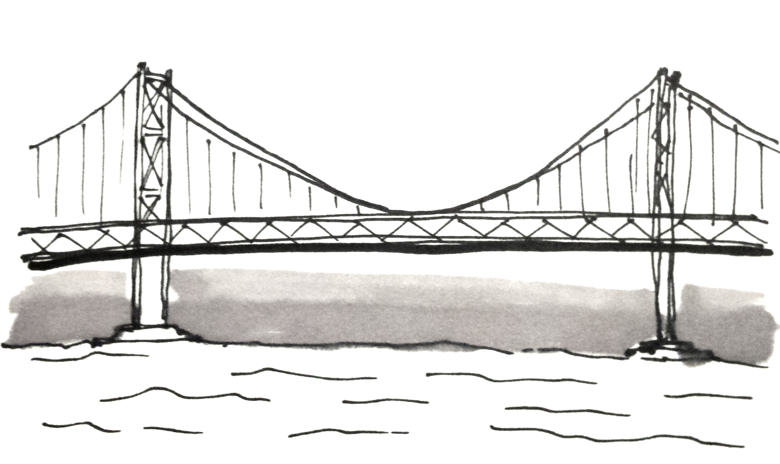 Bay Bridge looks a little like the Golden Gate. It has two levels. What else could differentiate it in a quick sketch?