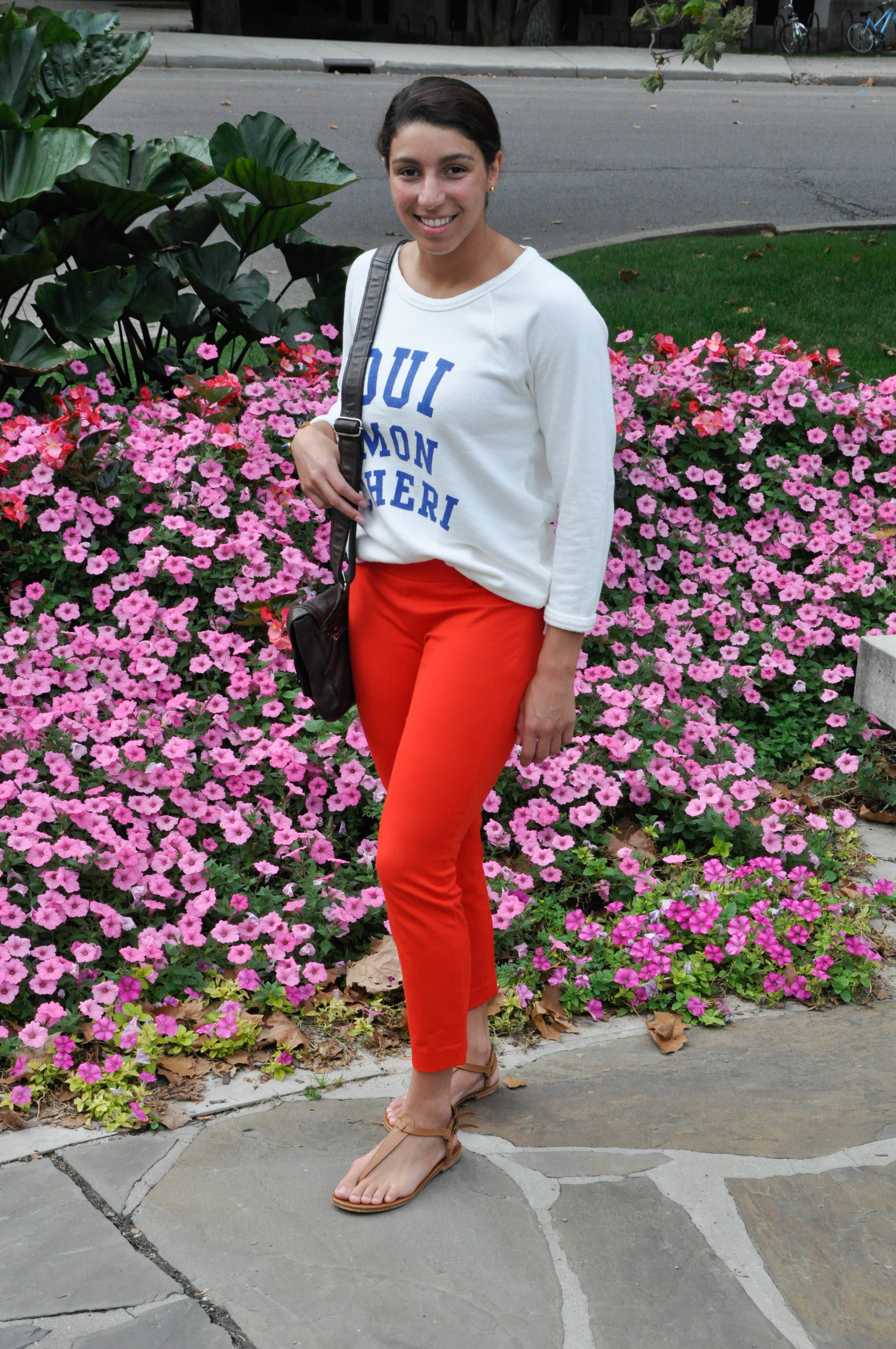On this post, you will find me playing around with some color. These bright orange J.Crew pants have gotten me through many events. Whether it be a professional setting or just a casual stroll by Showalter Fountain (as seen in these pictures), my ability to be comfortable is never compromised! They have a slight stretch to them, which allows me to be active in them while still wearing something that has a classy feel to it.