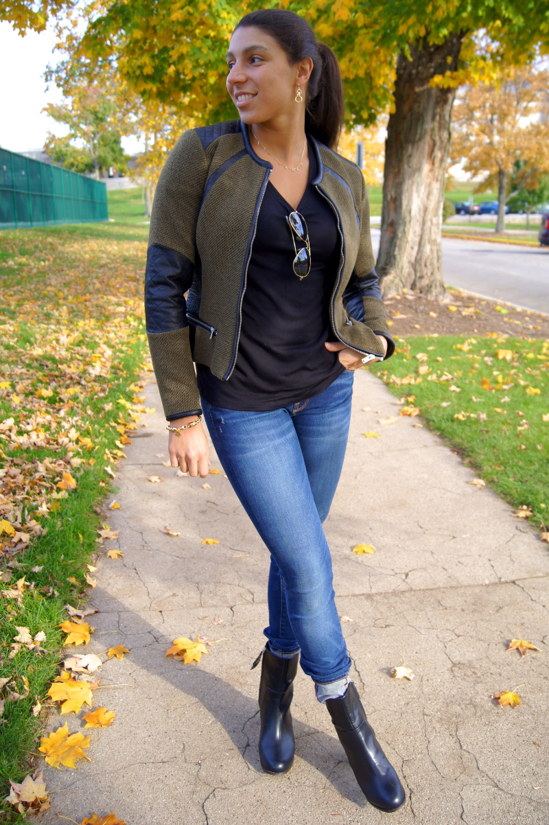 Tell me you love me?! No, tell me you leather me! I'm lovin' these deep green tones that are prominent and trending this Fall! Leather details are also making their mark on shirts, jackets, and of course our shoes. H&M has been a great go-to for me this season when I'm looking for a chic and light Fall jacket!