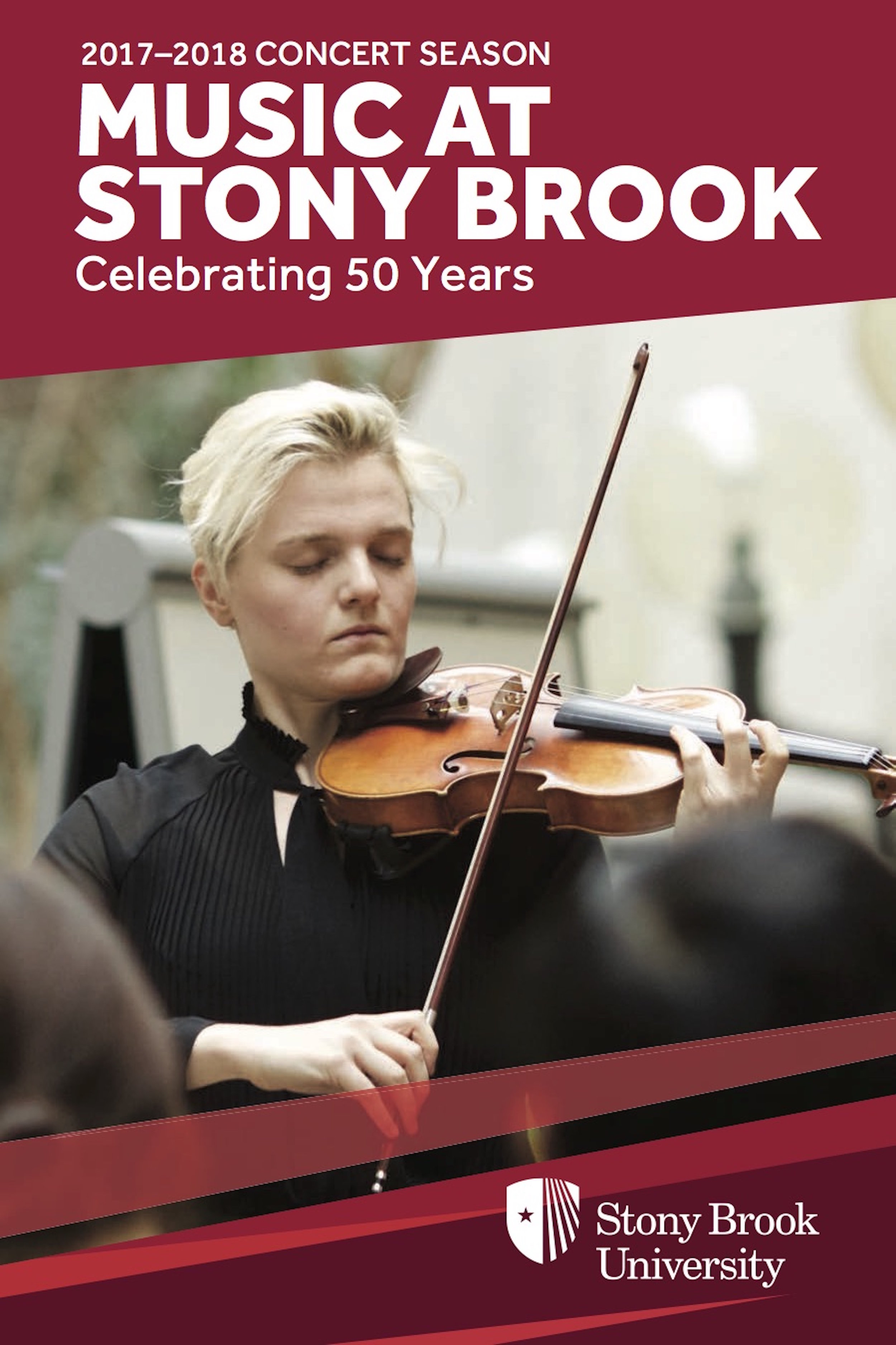 Cover of Stony Brook Music Department brochure, 2017-18