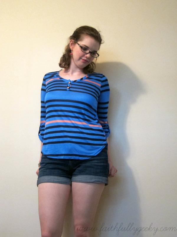 Evo Multi-Stripe Knit Henley Top by Pixley, size M