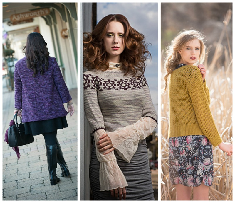 Crabtree Cardigan  by Maria Yarley,  Steampunk Pullover  by Julia Farwell-Clay,  Cormac Sweater  by Leah B. Thibault (all photos copyright their respective publishers)