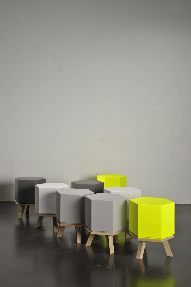 Hex Stool, designed by Wim & Bob Segers, manufacturer Sixinch