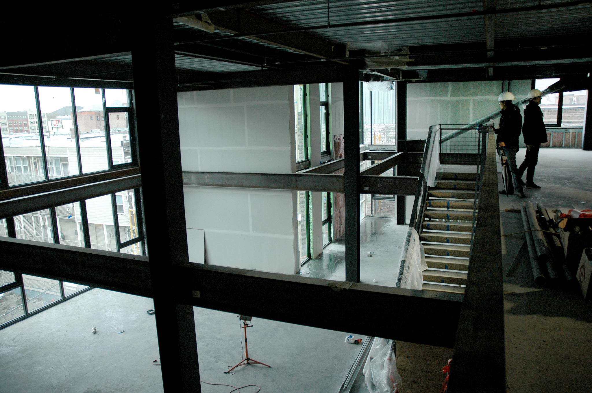 The mezzanine levels have double height spaces given to offices in both levels.