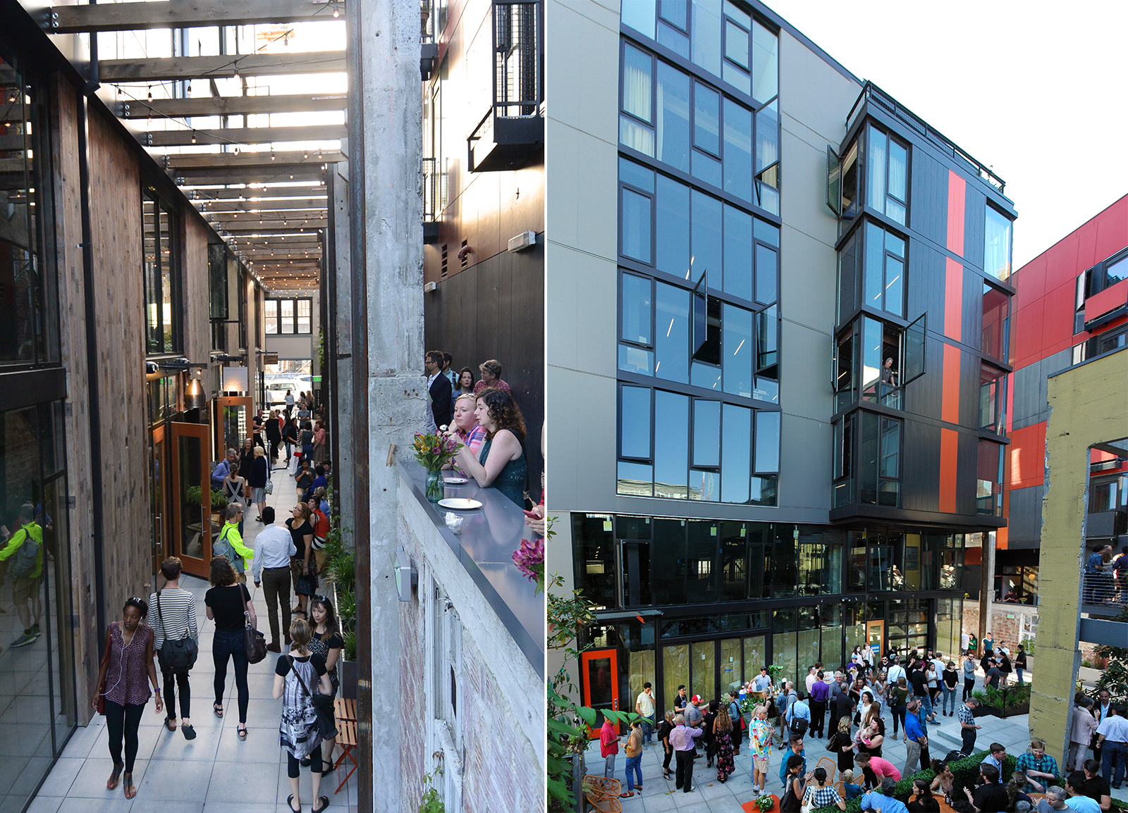 Left: the mews, picture by my coworker Wing-Yee. Right: the courtyard, filling up with people!
