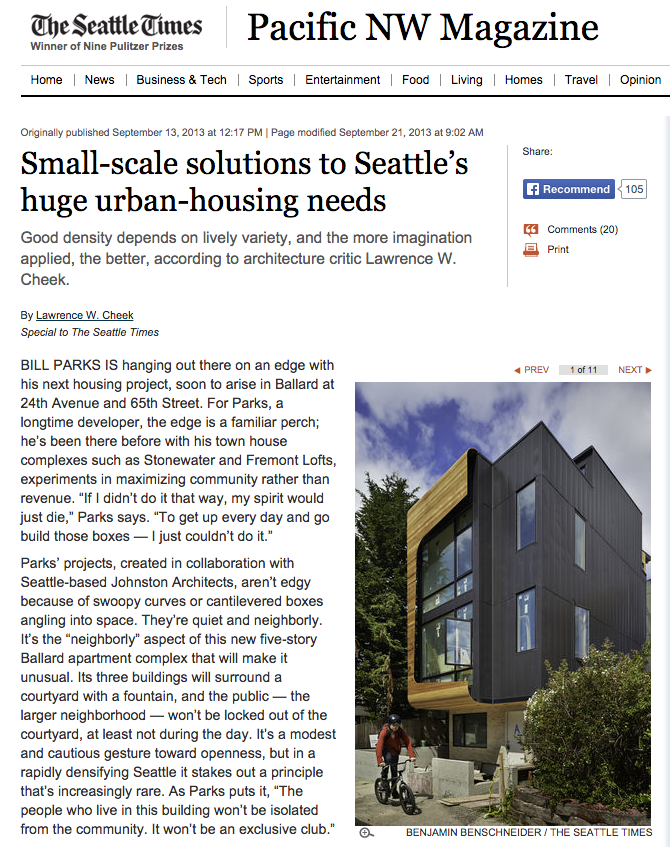 Small-scale solutions to Seattle's huge urban-housing needs   Pacific NW Magazine / Seattle Times  September 15 2013