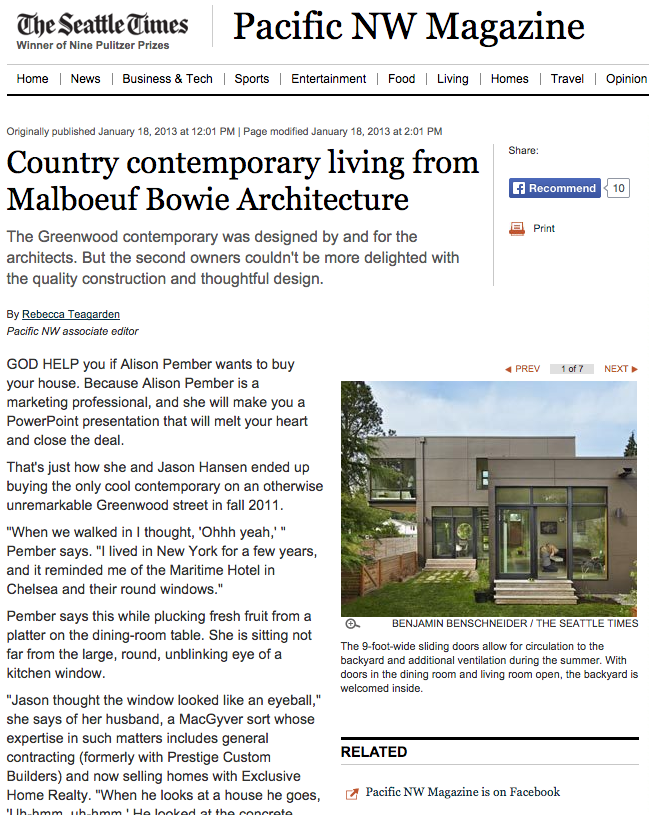 Country contemporary living from Malboeuf Bowie Architecture   Pacific NW Magazine / Seattle Times  January 20 2013