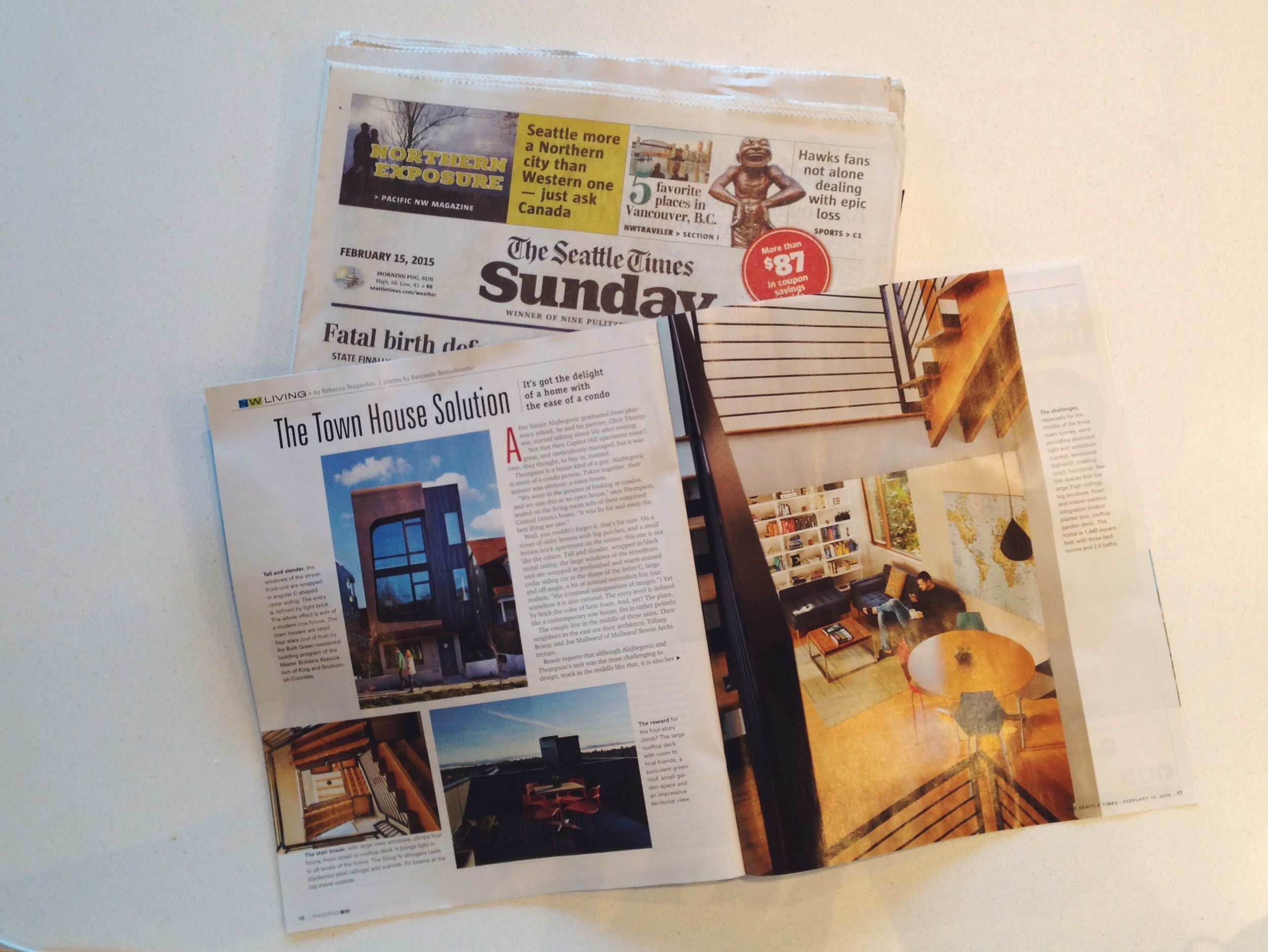 One wanted a house, the other a condo: contemporary town house works for both   Pacific NW Magazine / Seattle Times  February 15 2014
