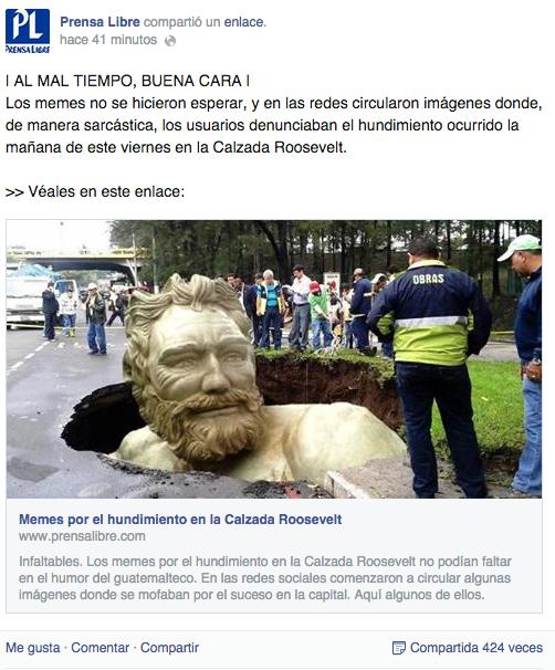 Fuente: captura de pantalla de la página oficial en facebook de Prensalibre.