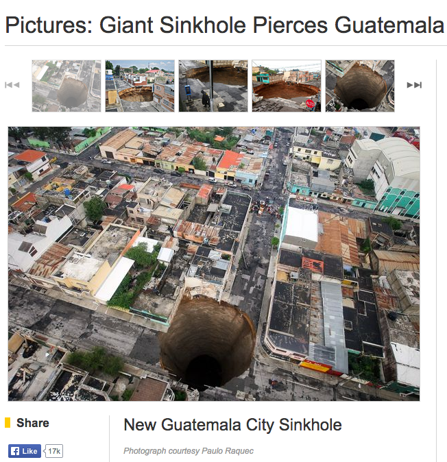 Fuente: Captura de pantalla del sitio de National Geographic.http://news.nationalgeographic.com/ news/2010/06/photogalleries/100601-sinkhole-in- guatemala-2010-pictures-world/