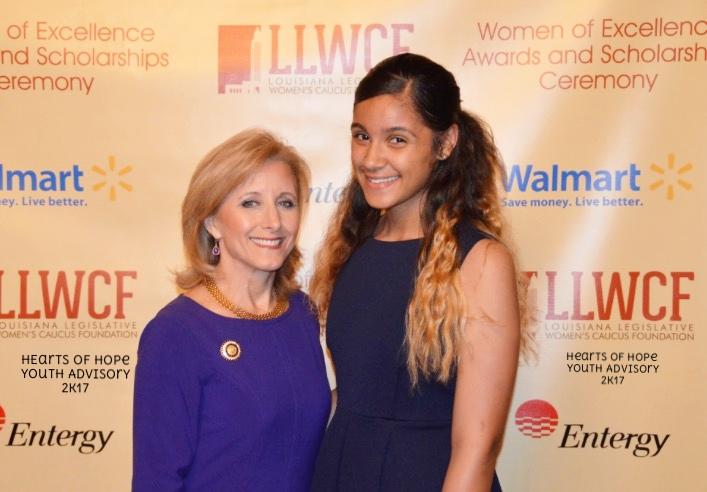 Youth Advisory Board Member, AnyaRae Joseph with 1st Lady of Louisiana