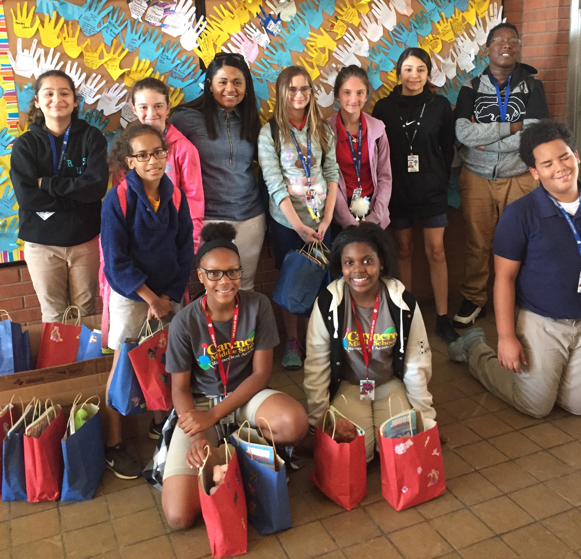 Val Senegal with Carencro Middle students who donate Easter bags to CAC clients