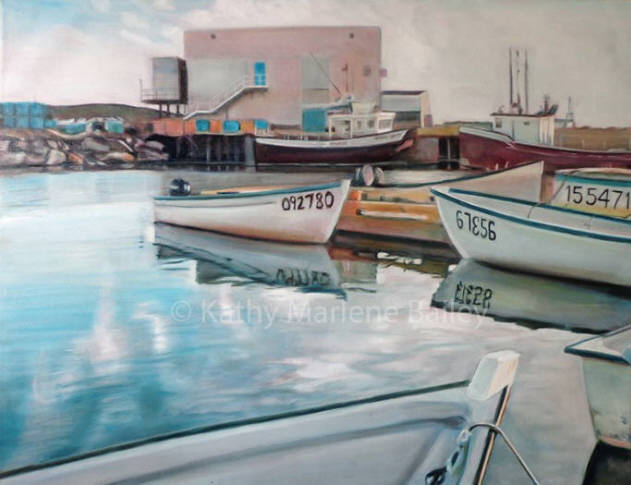 still water, Three Small Boats, water, ocean, harbour, boats, fishing, Quinlan, Quinsea, Newfoundland, and Labrador, North Altantic, Atlantic, skiff, motor boats, mercury, crab, cod, welk, lobster, longliner, fishery, Old Perlican, fish plant, family, kathy marlene bailey, glazing, oil, painting,