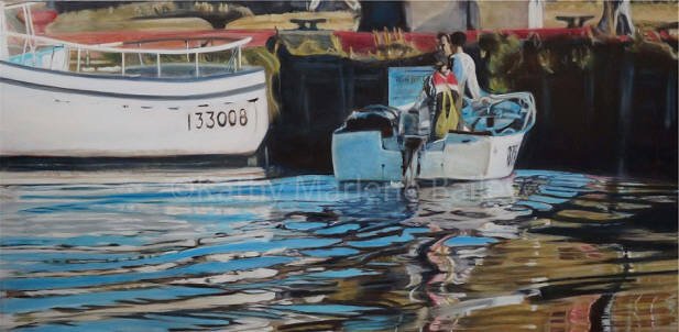 "Riding the Wave, Old Perlican Harbour, 24""x48"", Glaze Oil on Canvas, SOLD AT AUCTION, ST. JOHN'S NL"