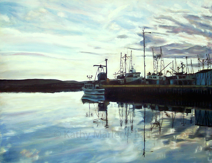 """Main Wharf, Old Perlican Harbour, 36""x48"", Glaze Oil On Canvas, FOR SALE AT CHRISTINA PARKER GALLERY, ST. JOHN'S NL"