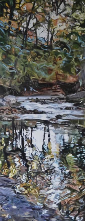 Sanctuary Between, Oil Painting, Burlington: Urban and Rural, Art Exhibition, Burlington, Ravine, Creek, meditation, tall oil painting, painting of a creek, brook