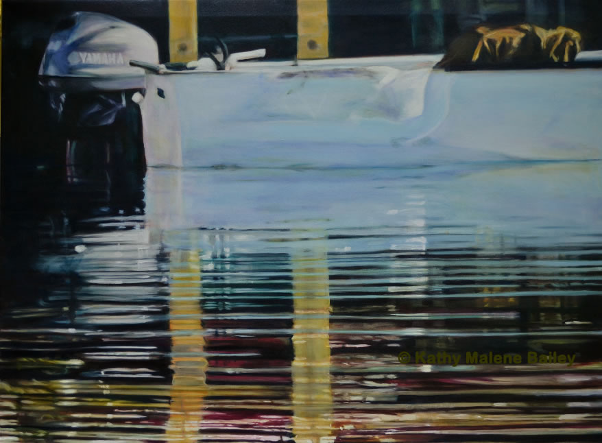 slick, food fishery, Harbour, Kathy Marlene Bailey, Kathy Bailey, water reflections, boats, fishing boat, oil painting, waterscape, things to do in St. John's, wharf, Yamaha, motorboat, skiff, tarpaulin, runabout, corporate painting, glaze oil, Old Perlican, Newfoundland, fishing boat, reflection