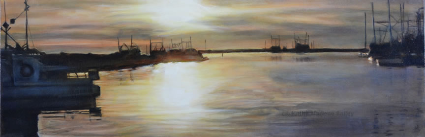 GiltHarbour, Old Perlican, Series, Newfoundland, NL, and Labrador, sunset, golden, boats, Kathy Bailey, Kathy Marlene Bailey, horizontal, wide, painting, oil, glaze oil, Christina Parker Gallery, Red Canoe Gallery, fishery, fishing boats, longliners, skiffs, Canadian Glaze Oil Society, CGOS, 12x36, corporate , boardroom, Quinsea, Quinlan, North Atlantic, Harbour, Summer