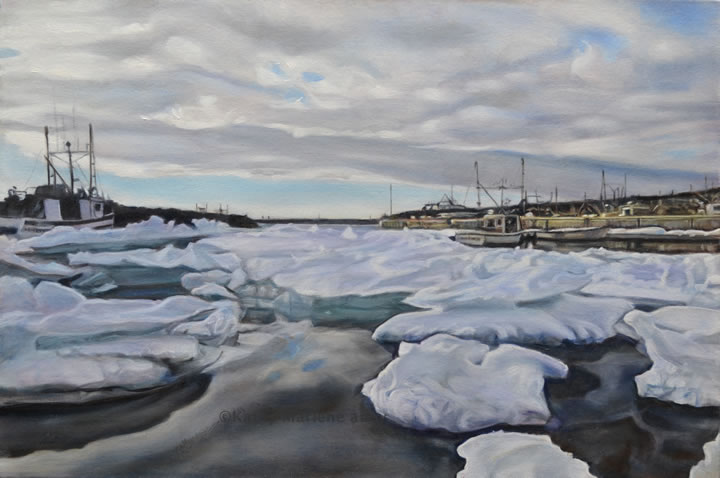 ice pans, arctic ice, water, ocean, harbour, boats, fishing, Quinlan, Quinsea, Newfoundland, and Labrador, North Altantic, winter, spring, thaw, ice jam, Atlantic, crab, cod, welk, lobster, longliner, fishery, Old Perlican, fish plant, family, kathy marlene bailey, glazing, oil, painting, glaze oil, Canadian, Society, CGOS, clouds, harbour, old perilcan, Newfoundland, and Labrador, NL