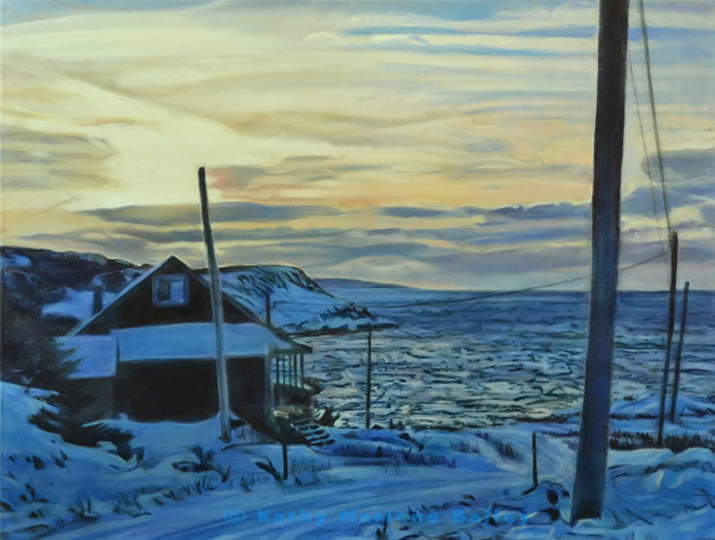 7- Tucked  In At Daniel's Cove, winter, isolation, tranquility, solitude, cozy, hearth, harsh elements, frozen, land, Newfoundland, and Labrador, Canada, Canadian, Newfoundlanders, out port, outport, rural, wilderness, safe at home, art, gallery, art galleries, Canadian Artist, Kathy Marlene Bailey, glazed, Renaissance