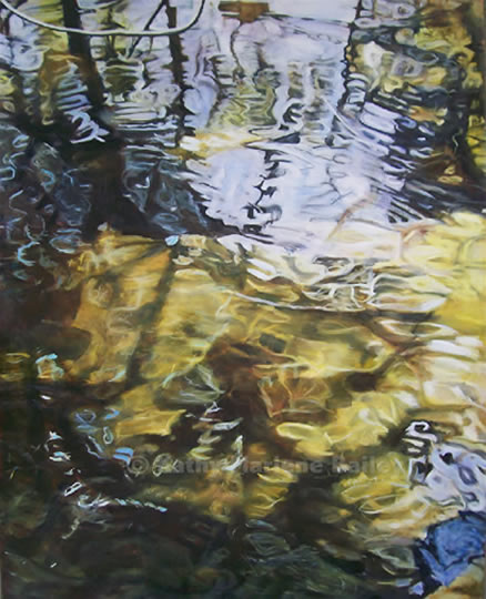 "Under a Willow Tree, abstract, realism, closeup water, close-up, water, mesmerizing,  huge painting, 4'x5', 48""x60, Vertical, corporate, large, scale, massive, masterpiece, transparent, peaceful, tranquil, centre-piece, show-stopper, neutral, investment, art, historical, painting, refined, beautiful, Canadian, waterscape, Kathy Marlene Bailey, artist, Verge, Mentorship Program, BAC, AGB, Burlington, Art Gallery, Judy Major Gerardin.jpg"