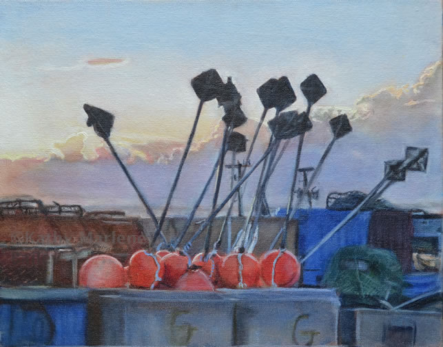 "FinallyThey'reHome, Fishing in Newfoundland, North Altlantic, Maritimes, Canada, Canadian, Fisherman, Fishermen, buoys, equipment, nets, crabpots, gear, sky, oil, painting, artist, Kathy Marlene Bailey, Painter, investment, small, 11""x14"""", 11x14, master, artwork, fisherman story, hardship, danger, home again.jpg"