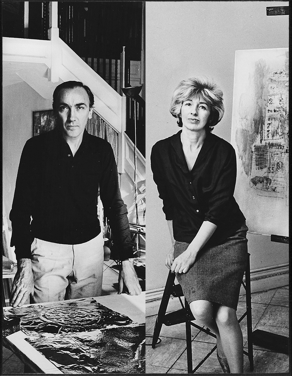 """Left image: Lisl Steiner, José Antonio Fernández-Muro in his studio on East 50th Street, New York, New York City, 1964. Chromogenic print from original negative, 2019 (1964), 8 1/2"""" x 11"""". Right image: Lisl Steiner, Sarah Grilo in her studio on East 50th Street, New York, New York City, 1964. Chromogenic print from original negative, 2019 (1964), 8 1/2"""" x 11"""". Both images: Courtesy of the  Estate of Sarah Grilo and José Antonio Fernández-Muro  and reproduced with permission from Lisl Steiner. On loan at the Institute for Studies on Latin American Art (ISLAA)."""