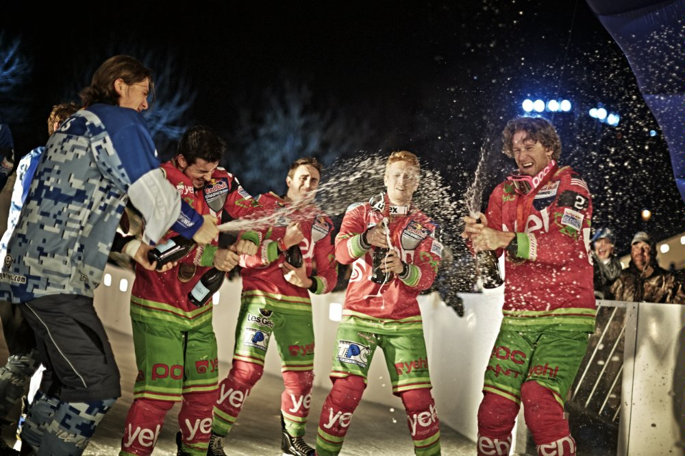 Photo: Prestige Worldwide celebrating team victory /  Red Bull Crashed Ice