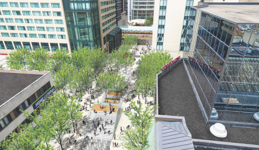 Rendering / Looking west on Peace Plaza