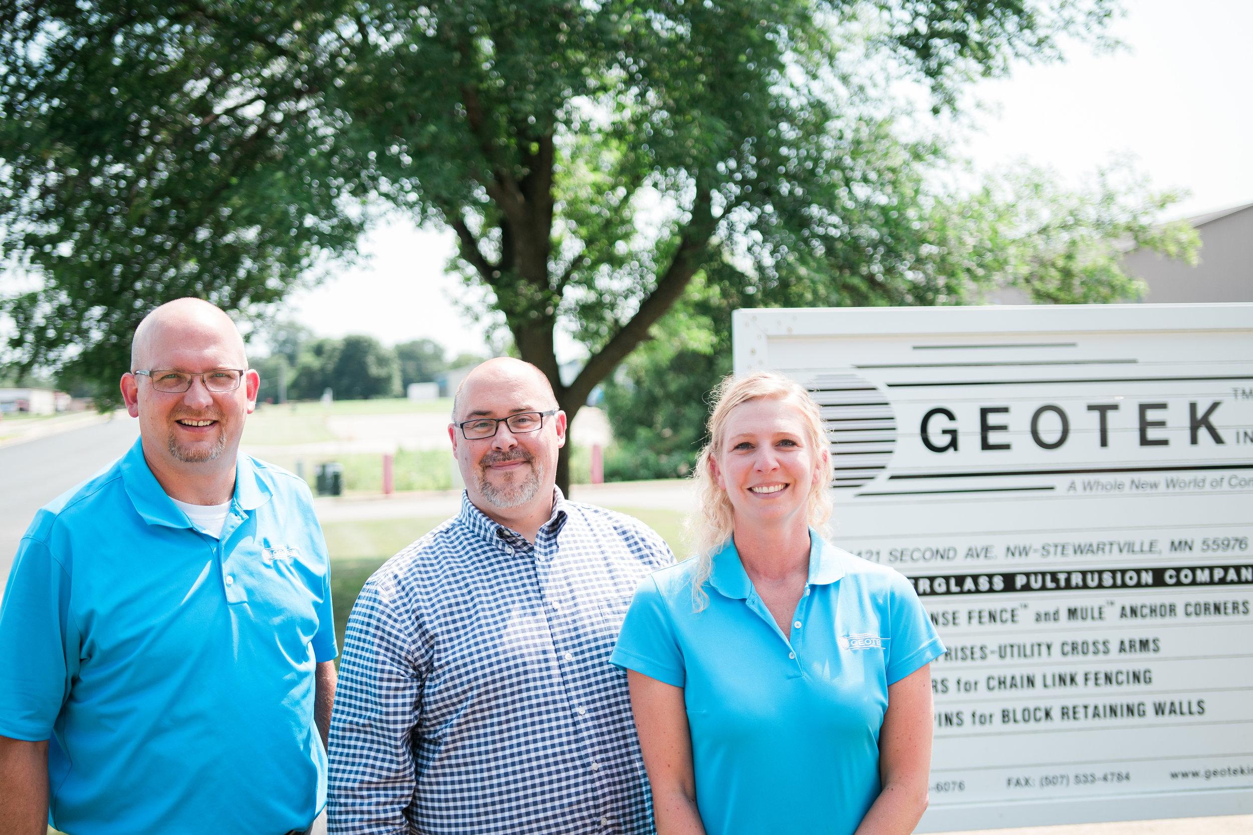 Left to right:Karl Clausen, Wes Duellman and GEOTEK HR Director Mollie Forstner