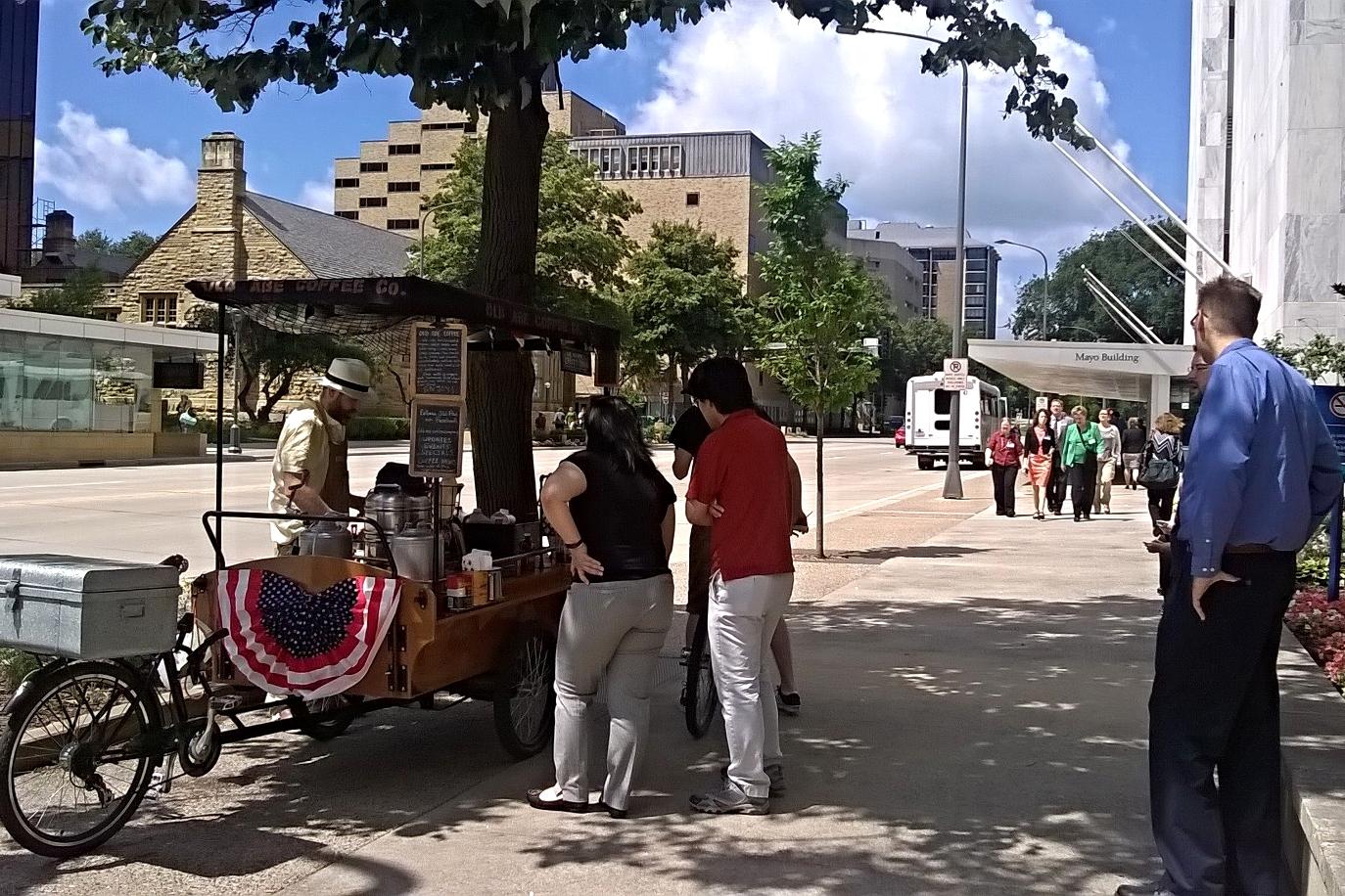 Abe's custom-made coffee trike / Med City Beat