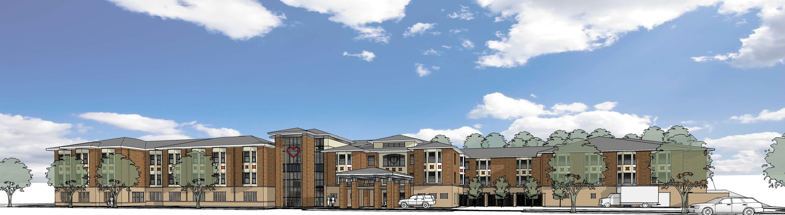 Exterior rendering of the expansion project