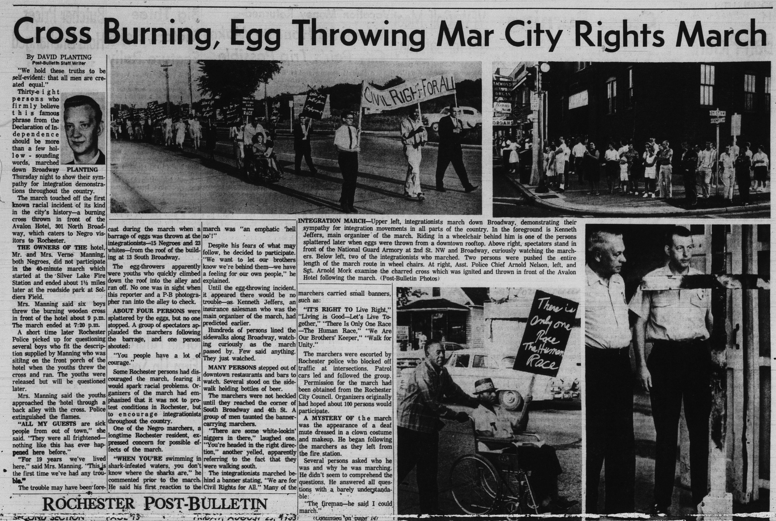 Clipping from the Post-Bulletin newspaper dated August 23, 1963