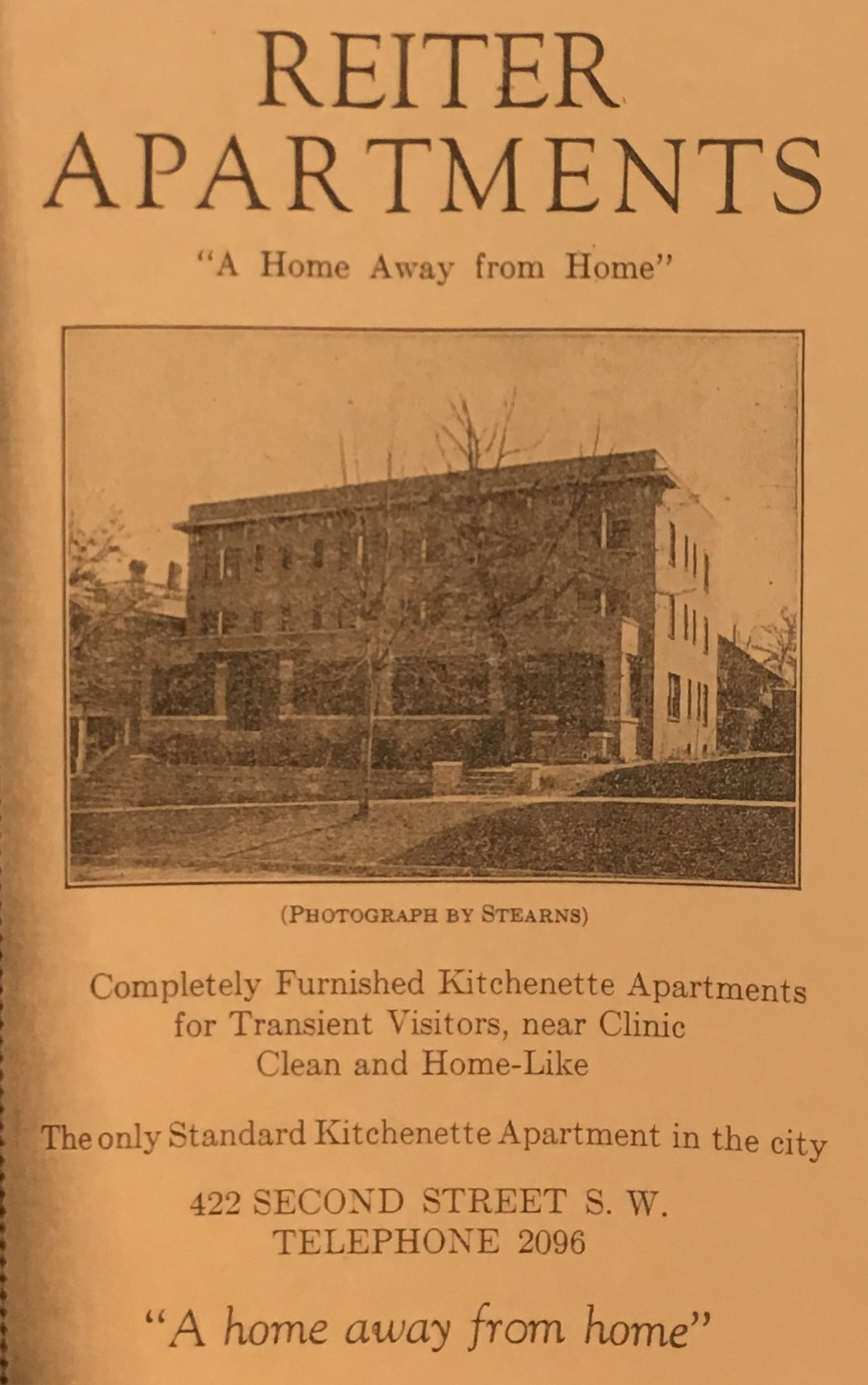 "Reiter advertised having ""the only Standard Kitchenette Apartment"" in Rochester."