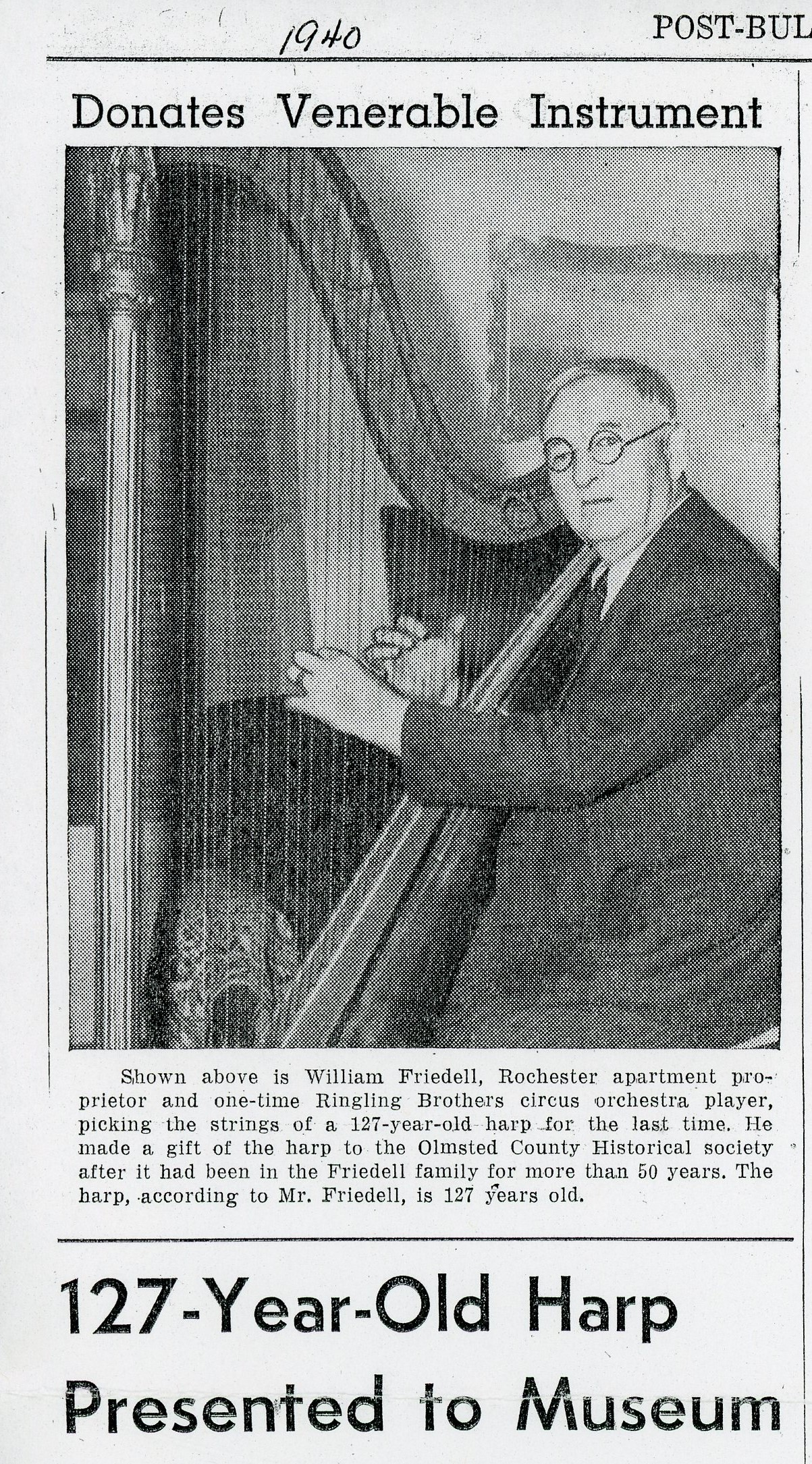 Post-Bulletin clipping from 1940