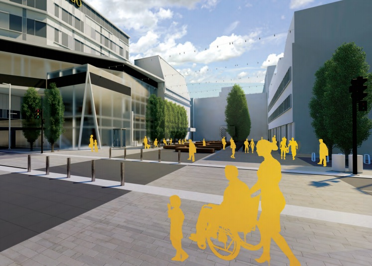 Shown here: Curbless street design on First Avenue