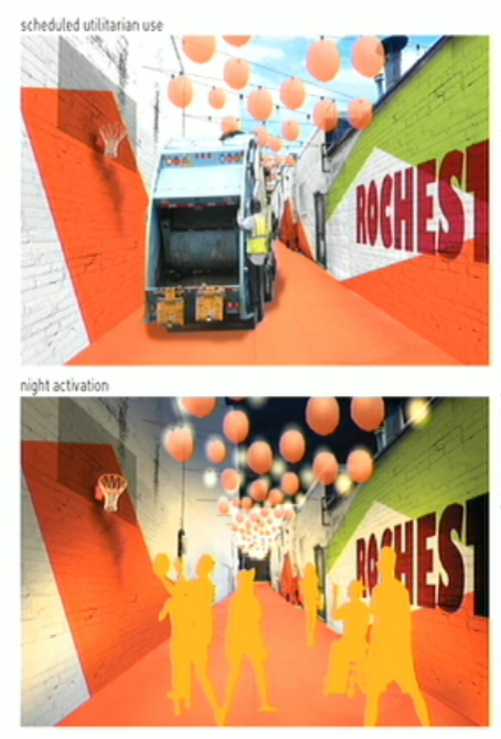 Rendering of proposed alley enhancements