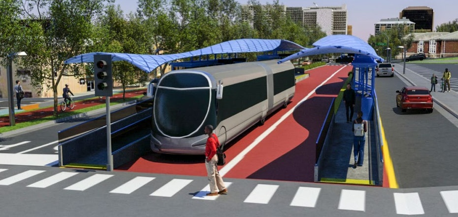 Rendering of a bus rapid transit system