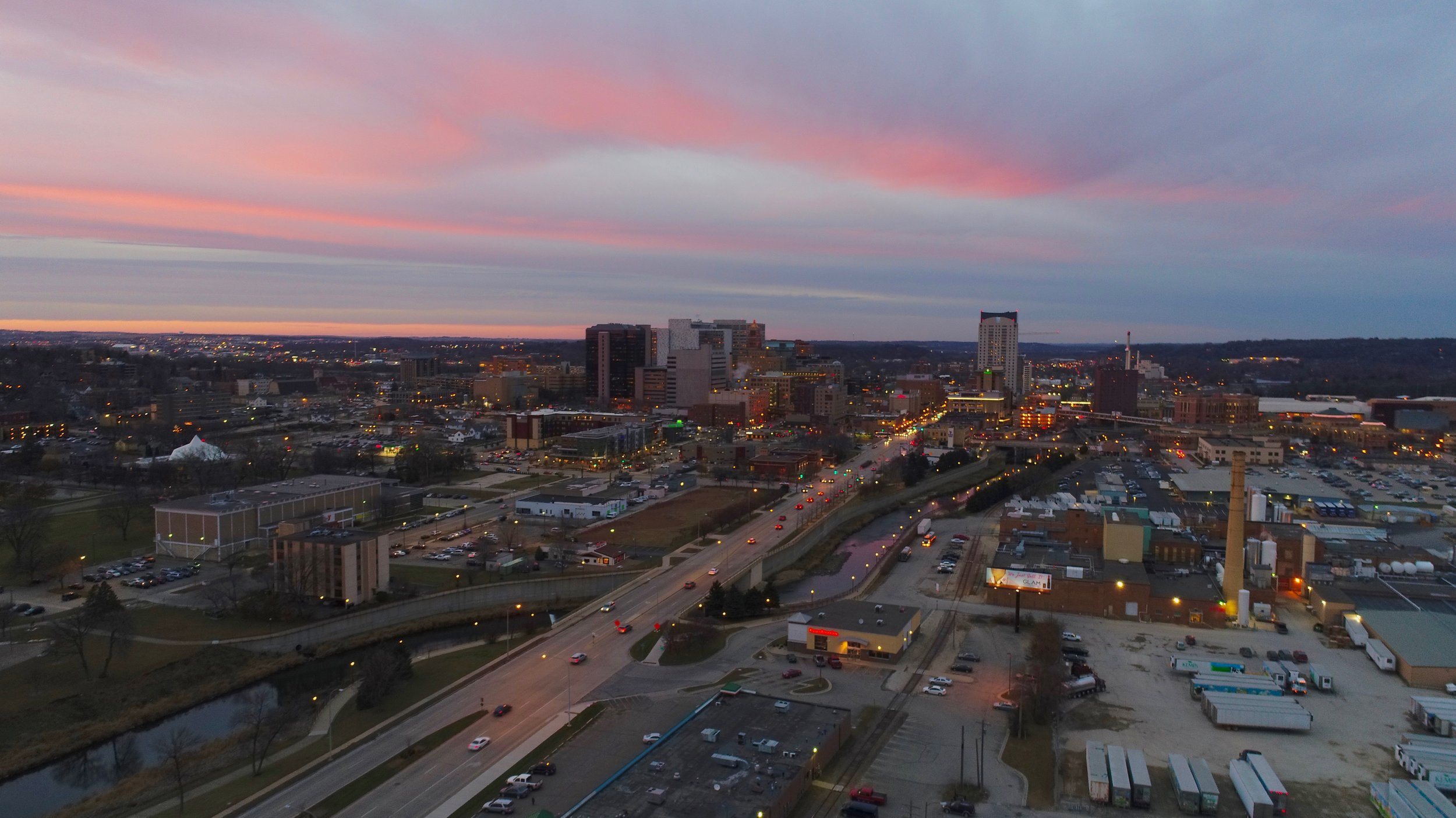 Drone image of downtown Rochester / Submitted