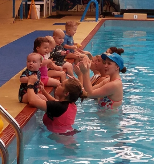 Water Babies - This is an ability based program making sure babies love and enjoy the water, once they are happy and confident they'll move to the next level. Fun, games, floating and breath control games are for stimulating senses and gross motor skills and bonding with carer.Class size is a maximum of 8, classes run from Monday to Saturday mornings for a 30 minute class with parents.