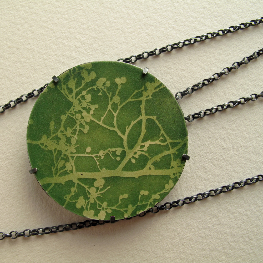 Blossom enamel oxidised silver necklace