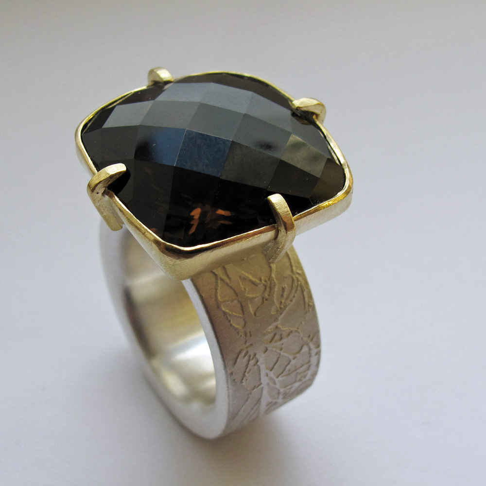 Smokey Quartz 18ct gold and silver etched ring