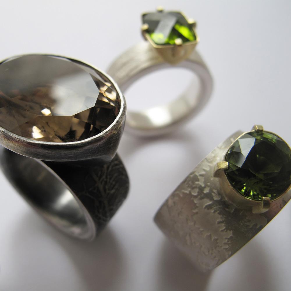 Big gemstone etched silver and gold rings
